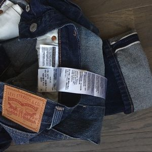 Mens 501 Selvedge Distressed Button Fly Straight